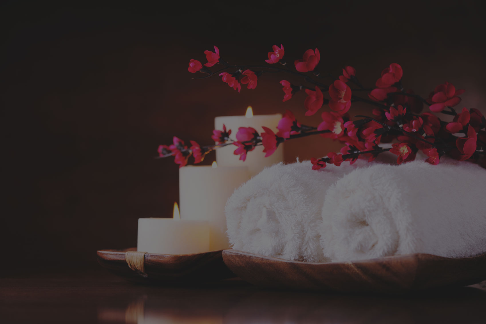 Flowers with rolled towels